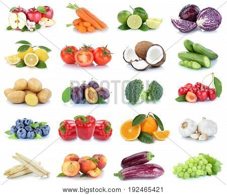 Fruits And Vegetables Collection Apples Oranges Bell Pepper Peaches Vegetable Food Isolated