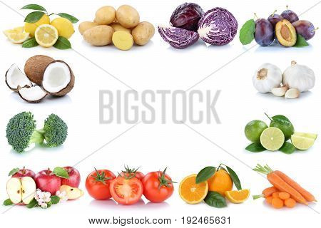 Fruits And Vegetables Frame Apples Oranges Tomatoes Lemon Vegetable Food Copyspace Copy Space