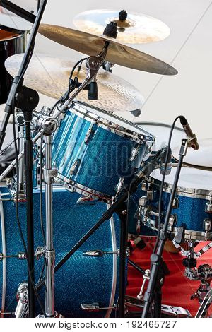 Blue Drum Kit With Copper Plates On Concert Outdoor Stage