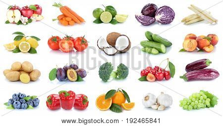 Fruits And Vegetables Collection Apples Oranges Bell Pepper Cherries Vegetable Food Isolated
