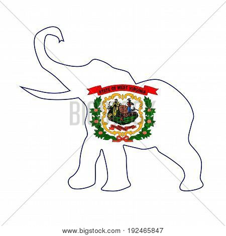The West Virginia Republican elephant flag over a white background