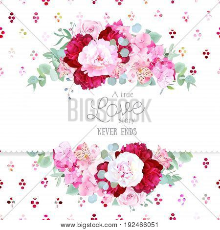 Stylish mix of flowers horizontal vector design frame. White, pink and burgundy red peony, alstroemeria lily, hydrangea, eucalyptus. Rainbow confetti backdrop. All elements are isolated and editable