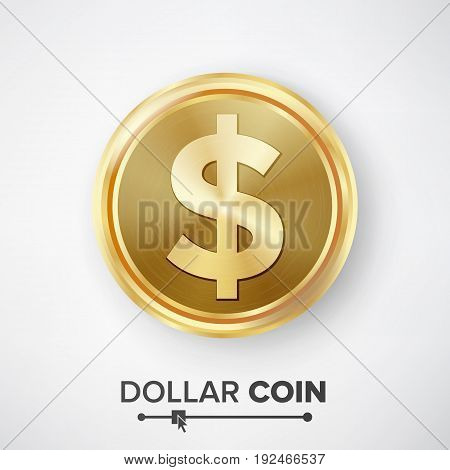Dollar Gold Coin Vector. Realistic Money Sign