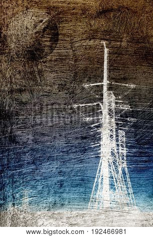 Landscape with power lines and Full Moon