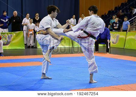 Orenburg, Russia - March 5, 2017 Year: Boys Compete In Karate