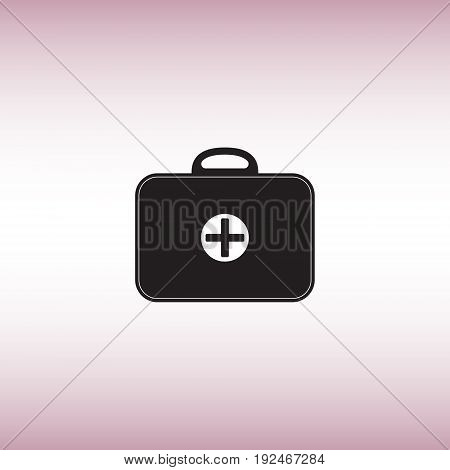 Medicine chest isolated vector sign. First aid kit vector illustration. Medical bag flat icon.