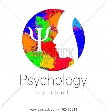 Modern head Logo sign of Psychology. Profile Human. Letter Psi Creative style. Symbol in vector. Design concept. Brand company. White color isolated on rainbow brush background Icon for web logotype.