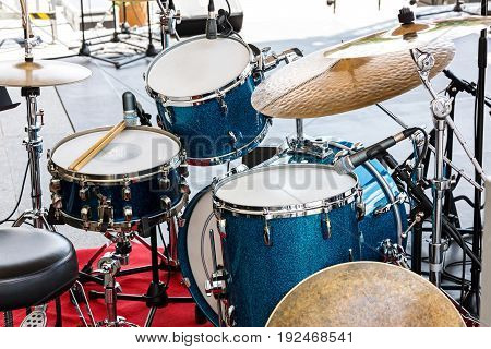 Detailed View Of Drum Set Setup Standing On Concert Outdoor Stage