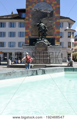 Wilhelm Tell Monument On The Cantonal Capital Of Altdorf