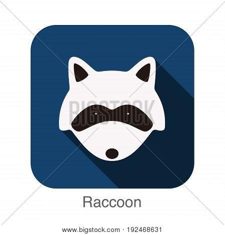 Raccoon animal face flat design, vector illustration