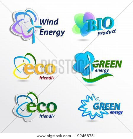 Set Eco logo design template elements wind energy bio product eco friendly