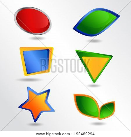 Set of frames. Set of colorful icons.