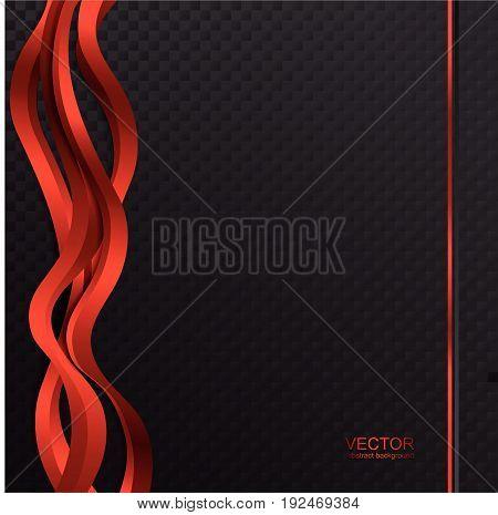 Dark wavy abstract background. Red dark background. Techno background.