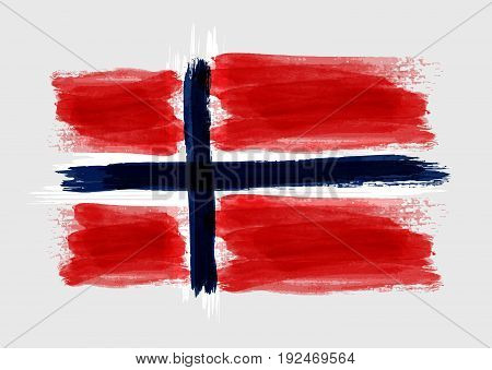 Grunge watercolored flag of Norway on gray background. Template for your designs.