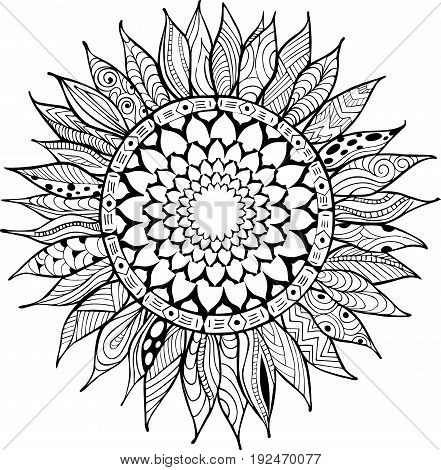 Hand drawn zentangle sunflower ornaments for antistress coloring book