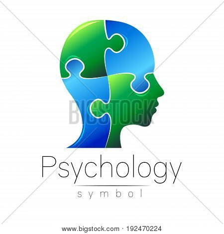 Modern head sign of Psychology. Puzle. Profile Human. Creative style. Symbol in vector. Design concept. Brand company. Blue green color isolated on white background. Icon for web