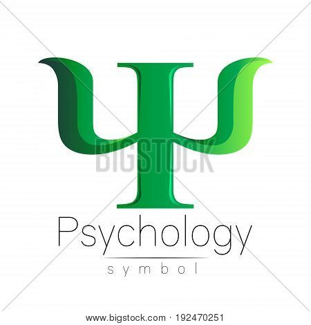 Modern Sign of Psychology. Psi. Creative style. Icon in vector. Design concept. Brand company. Green color letter on white background. Symbol for web, print, card, flyer. Bright