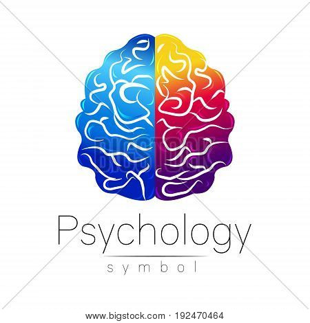 Modern Brain Sign of Psychology. Human. Creative style. Icon in vector. Design concept. Brand company. Blue violet left right color isolated on white background. Symbol for web, print