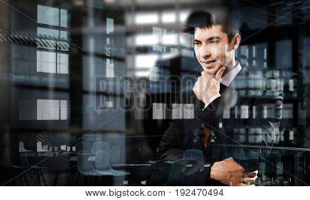 Portrait of thoughtful businessman. Mixed media