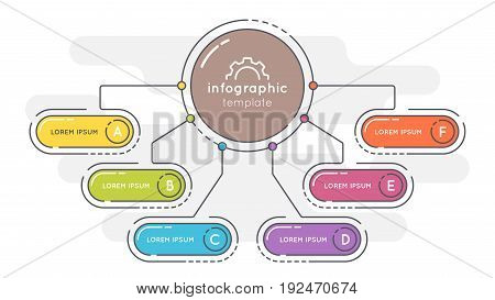 Flat style 6 options presentation infographic template. Thin line business concept. Expanded stroke.