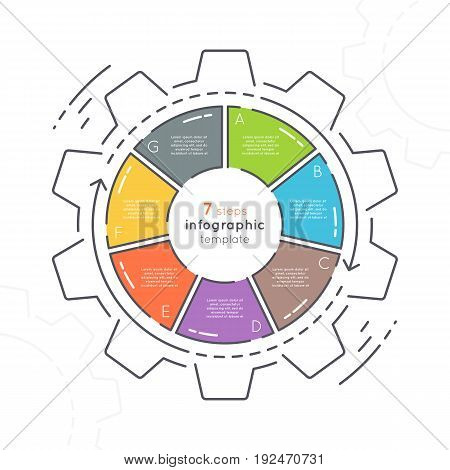 Gear shaped flat style infographic template with 7 steps. Thin line business concept. Expanded stroke.