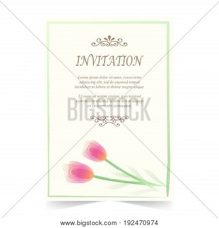 Invitation card wedding card with tulips flower on ivory background watercolor style