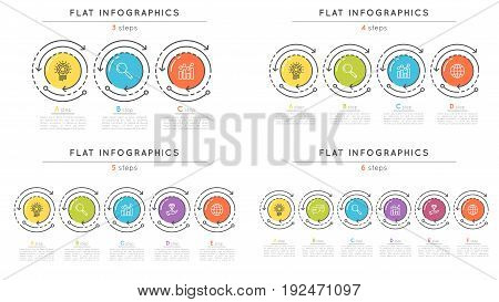 Set pf flat style 3-6 steps timeline infographic templates. Thin line business presentation concept. Expanded stroke.