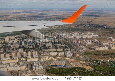 The view of the city from the window of the plane, Russia, Saratov city