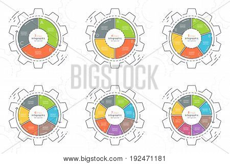 Set of gear shaped flat style infographic templates with 3-8 steps. Thin line business concept. Expanded stroke.