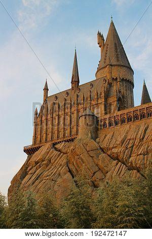 Osaka, Japan - Apr 15, 2017: The Wizarding World of Harry Potter in Universal Studios Japan. Universal Studios Japan is a theme park in Osaka, Japan.Hogwarts Castle