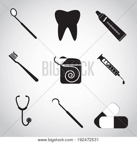 Dental icon set Tooth dentist tools protection tooth hygiene concept