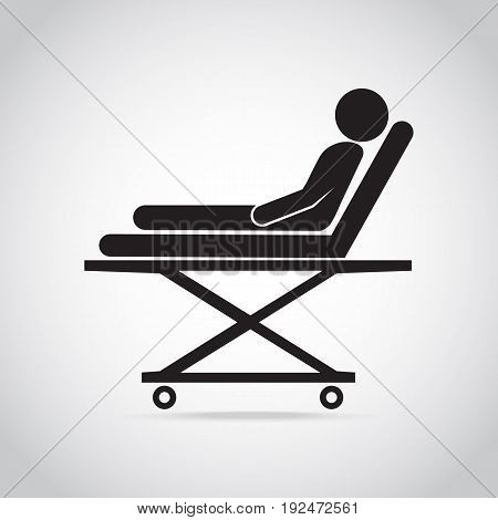 Patient on stretcher medical icon medical concept