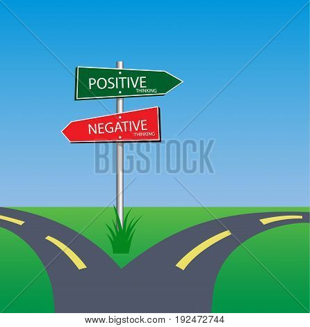 positive and negative sign on road way choice concept