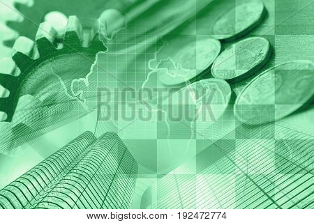 Business background in greens with money calculator and pen.