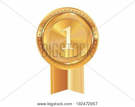Isolated Vector Golden Award Medal Ribbon Badge