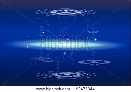 Digital hitech technology with gearwheel and network lines background, vector