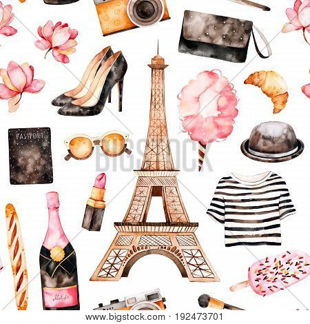 Handpainted texture with striped top, cosmetics, Tour Eiffel, champagne, cotton candy, shoes