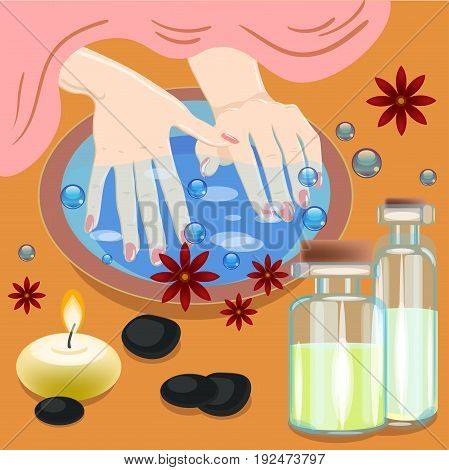 Manicure, hand care. Woman s manicured hands with bowl, bottles with oil and flowers, vector illustration