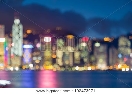 Hong Kong city business downtown blurred bokeh light at twilight abstract background