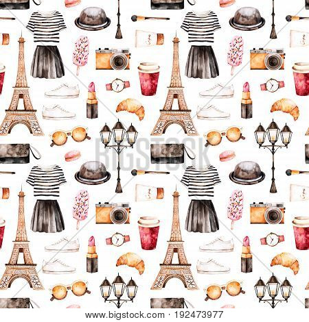 Handpainted texture with striped top, cosmetics, Tour Eiffel