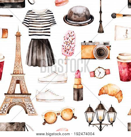 Handpainted texture with striped top,cosmetics,Tour Eiffel, coffee,shoes,skirt,bag