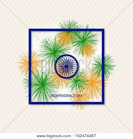 vector holiday indian independence day background with traditionally coloured fireworks and a symbol of a cartwheel