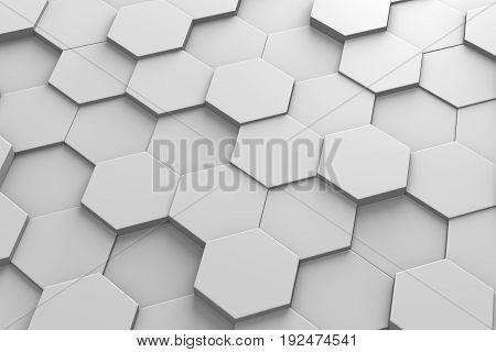 3d Hexagonal Tiles Arranged in Random Height