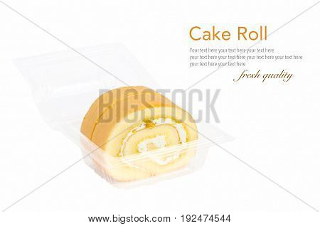 Close-up fresh baked delicious vanilla swiss rolls with cream in a clear plastic box isolated on white background (with easy removable sample text)