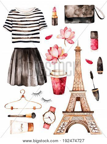 Handpainted texture with striped top, cosmetics, Tour Eiffel, coffee, flowers