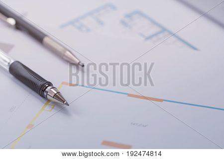 Floor plan on paper. Rental. Toned image.
