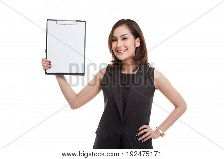 Young Asian Business Woman Show Blank Clipboard.