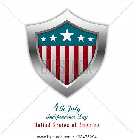 4th of July. Fourth of july. United States independence day design shield can be used for label, tag, greeting card, banner. Vector illustration