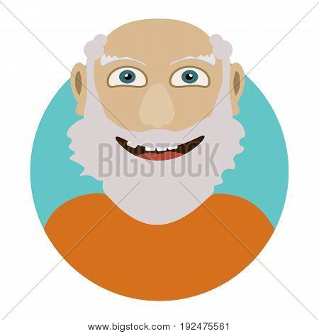 Man face emotive icon. Old man with beard smiling isolated flat vector illustration Happy human psychological portrait. Positive emotions user avatar.
