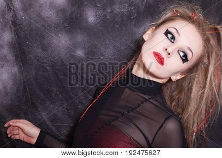 Woman With Gothic Halloween Make-up